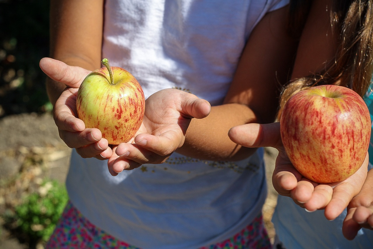 Young Girls With Apple In Hand